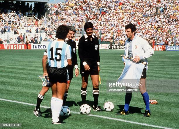 Daniel Passarella of Argentina and Dino Zoff of Italy before the World Cup Spain 1982 match between Italy and Argentina at Estadio de Sarrià on June...