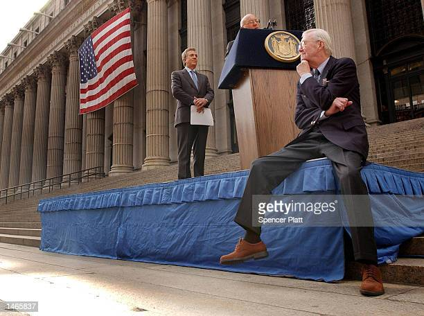 Daniel Patrick Moynihan former US Senator from New York sits down at a news conference at the James A Farley Building October 8 2002 in New York City...