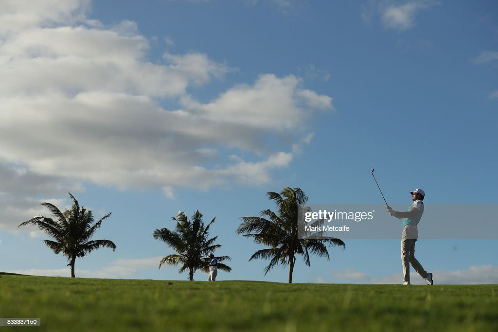 Daniel Pearce of New Zealand hits his approach shot on the 7th hole during day one of the 2017 Fiji International at Natadola Bay Championship Golf Course on August 17, 2017 in Suva, Fiji.