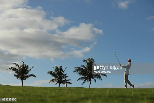 Daniel Pearce of New Zealand hits his approach shot on the 7th hole during day one of the 2017 Fiji International at Natadola Bay Championship Golf...