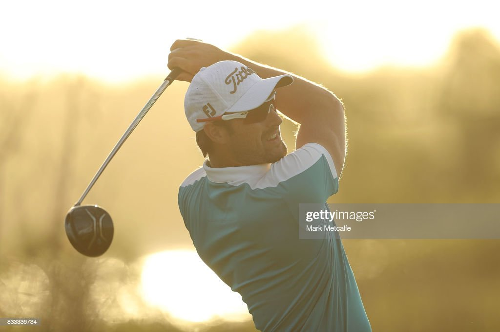 Daniel Pearce of New Zealand hits his tee shot on the 18th hole during day one of the 2017 Fiji International at Natadola Bay Championship Golf Course on August 17, 2017 in Suva, Fiji.