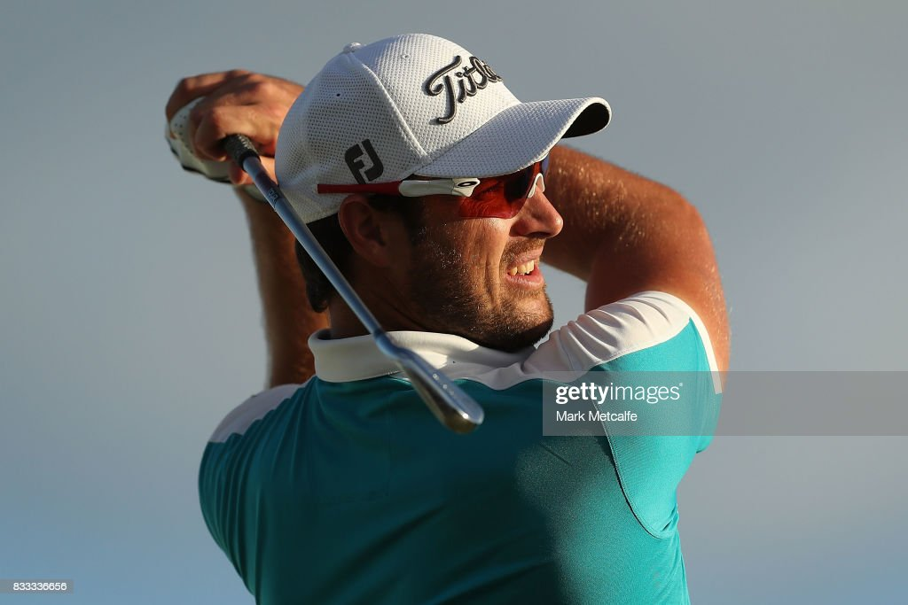 Daniel Pearce of New Zealand hits his tee shot on the 8th hole during day one of the 2017 Fiji International at Natadola Bay Championship Golf Course on August 17, 2017 in Suva, Fiji.