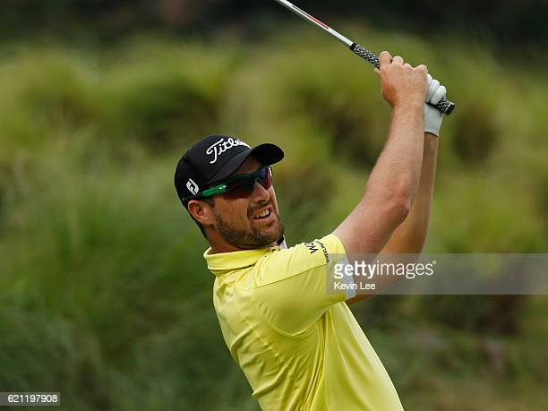 Daniel Pearce of New Zealand tees off at 1st green during day three of the Clearwater Bay Open at the Clearwater Bay Golf Country Club on November 5...