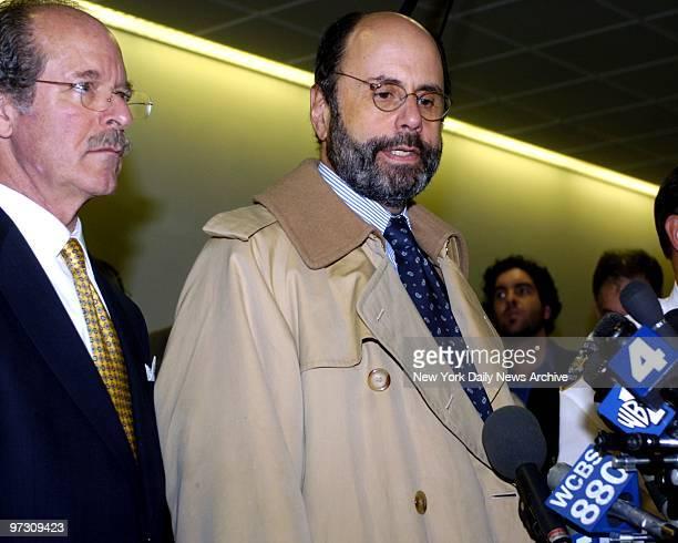 Daniel Pelosi defense team Paul Bergman and Gerald Schargel during press conference att end of court session in Riverhead LI
