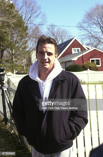 Daniel Pelosi leaves his Center Morcihes LI home He was indicted today in the murder of millionaire Ted Ammon in Ammon's East Hampton home