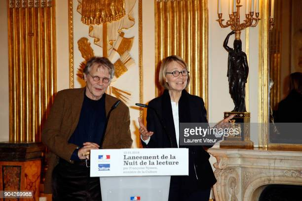 Daniel Pennac and Francoise Nyssen attend 'La Nuit de la Lecture' Launch Day at Ministere de la Culture on January 12 2018 in Paris France