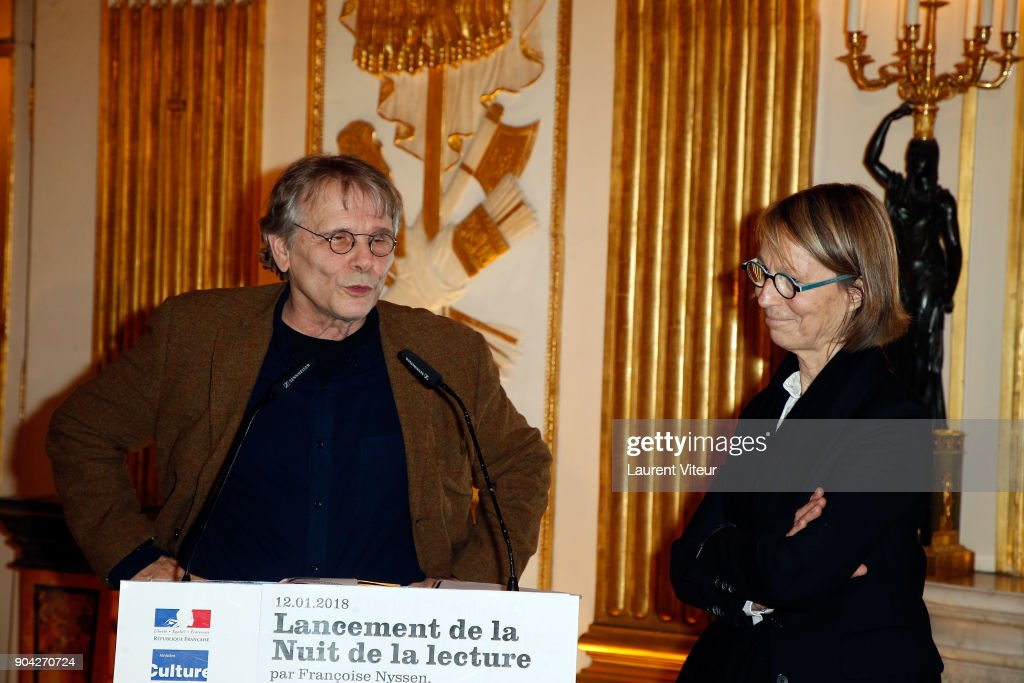 Daniel Pennac and Francoise Nyssen attend 'La Nuit de la Lecture' Launch Day at Ministere de la Culture on January 12, 2018 in Paris, France.