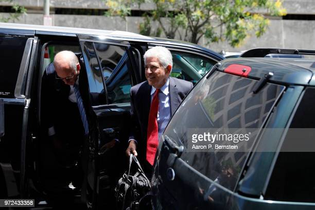 Daniel Petrocelli lead attorney for ATT and Time Warner arrives at US District Court on June 12 2018 in Washington DC The Justice Department is suing...