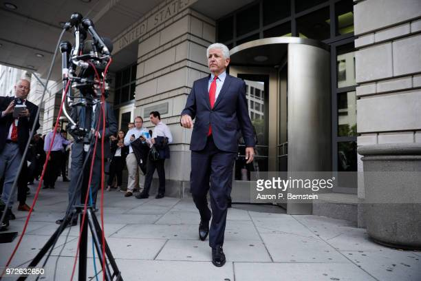 Daniel Petrocelli lead attorney for ATT and Time Warner speaks with the media outside the US District Court on June 12 2018 in Washington DC A...
