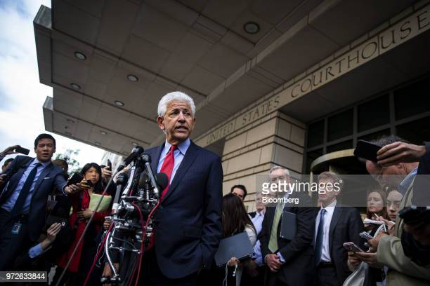 Daniel Petrocelli lead attorney for ATT Inc and Time Warner Inc speaks to members of the media outside of federal court in Washington DC US on...