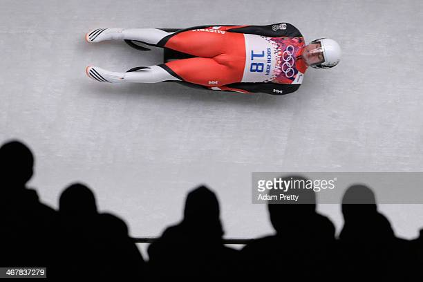 Daniel Pfister of Austria makes a run during the Luge Men's Singles on Day 1 of the Sochi 2014 Winter Olympics at the Sliding Center Sanki on...
