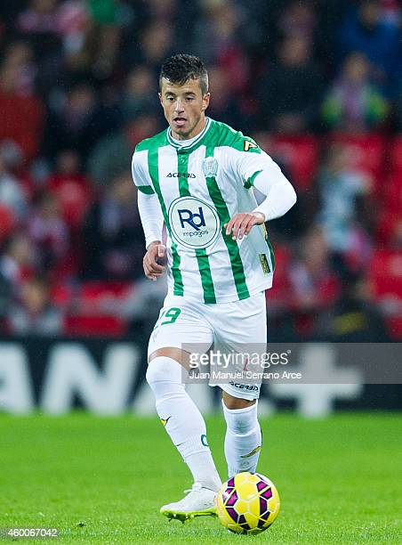 Daniel Pinillos of Cordoba CF controls the ball during the La Liga match between Athletic Club and Cordoba CF at San Mames Stadium on December 6 2014...