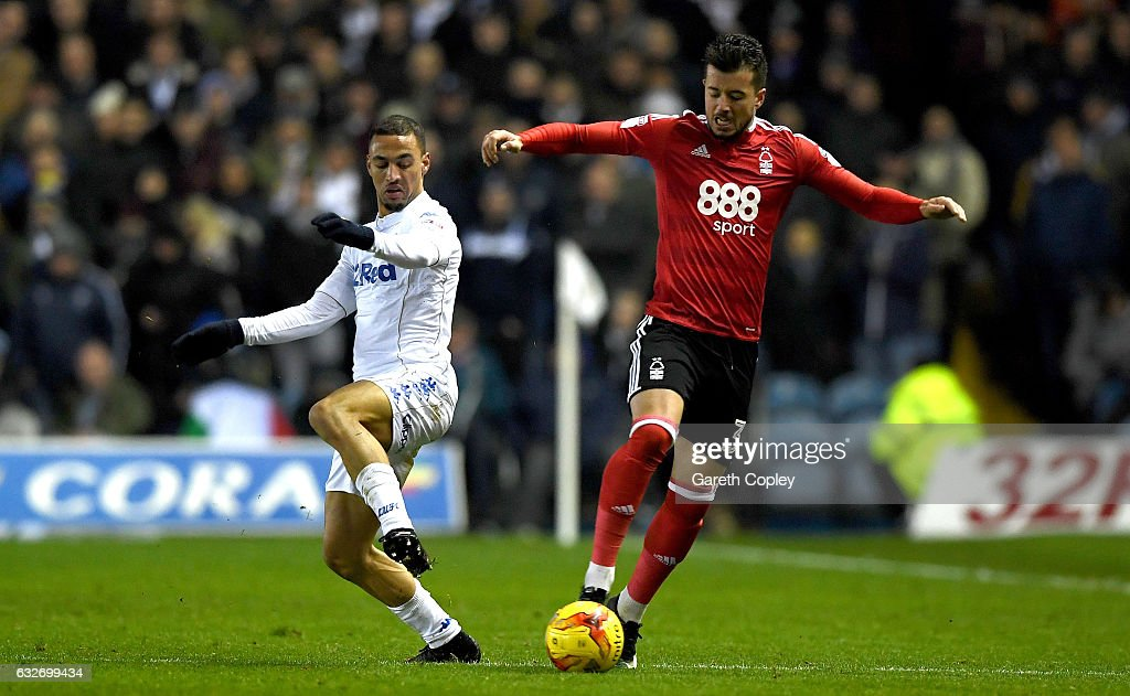 Daniel Pinillos of Nottingham Forest and Kemar Roofe of Leeds United in action during the Sky Bet Championship match between Leeds United and Nottingham Forest at Elland Road on January 25, 2017 in Leeds, England.
