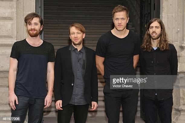 Daniel Platzman Ben McKee Dan Reynolds and Wayne Sermon of Imagine Dragons attend a press conference and photocall to promote their new album 'Smoke...