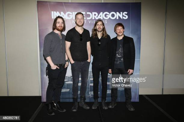 Daniel Platzman Dan Reynolds Wayne Sermon and Ben McKee of Imagine Dragons attend a press conference to promote their album 'Imagine Dragons Night...
