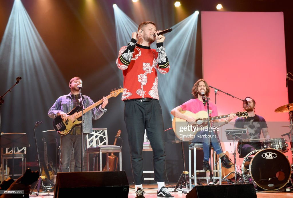Daniel Platzman, Dan Reynolds, Wayne Sermon and Ben McKee of Imagine Dragons perform onstage during The Trevor Project TrevorLIVE NYC 2017 at Marriott Marquis Times Square on June 19, 2017 in New York City.