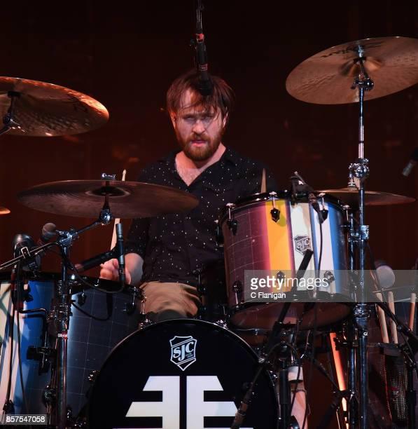 Daniel Platzman of Imagine Dragons performs during the Evolve World Tour at Shoreline Amphitheatre on October 3 2017 in Mountain View California