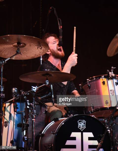 Daniel Platzman of Imagine Dragons performs during the Evolve World Tour at Shoreline Amphitheatre on October 3 2017 in Mountain View California