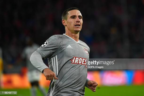 Daniel Podence from Olympiacos seen in action during the UEFA Champions League group B match between Bayern and Olympiacos at Allianz Arena in Munich
