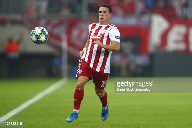 Daniel Podence of Olympiacos in action during the UEFA Champions League group B match between Olympiacos FC and Tottenham Hotspur at Karaiskakis...