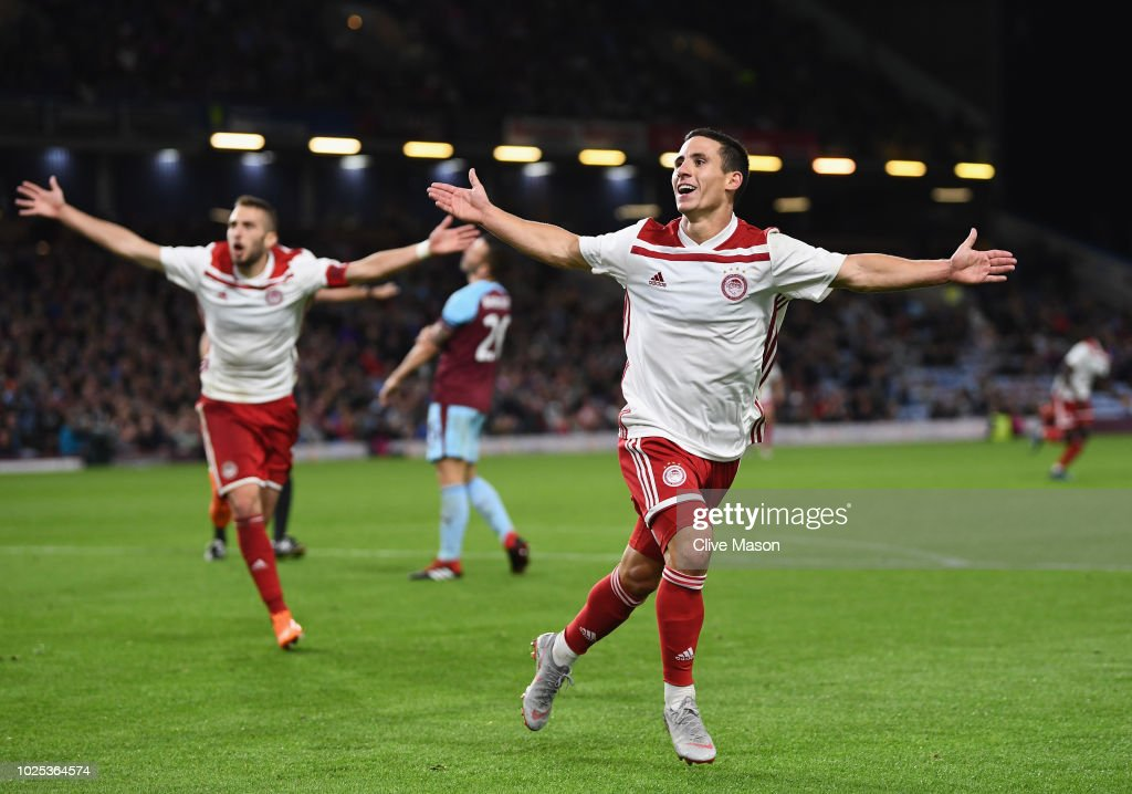 Daniel Podence of Olympiakos celebrates after scoring during the UEFA Europa League qualifing second leg play off match between Burnley and Olympiakos at Turf Moor on August 30, 2018 in Burnley, England.