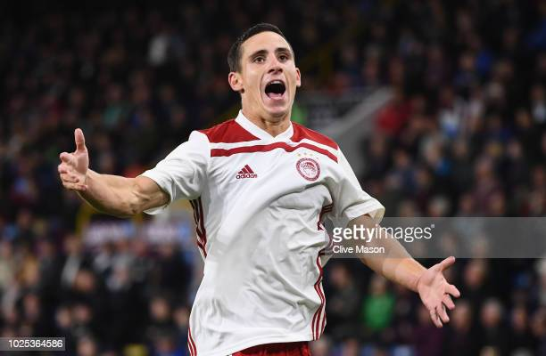 Daniel Podence of Olympiakos celebrates after scoring during the UEFA Europa League qualifing second leg play off match between Burnley and...