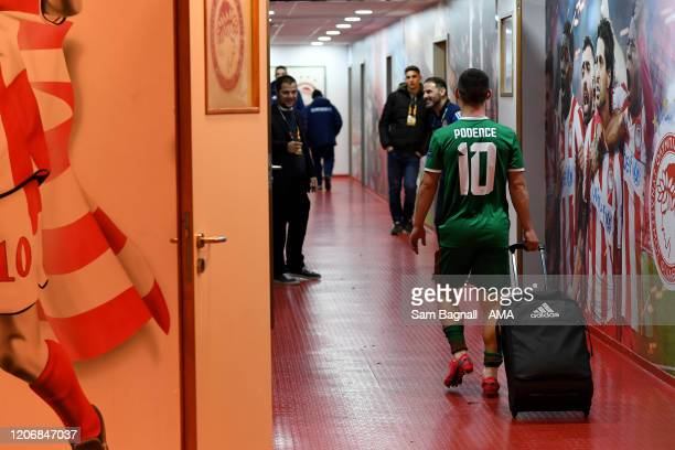 Daniel Podence of Wolverhampton Wanderers and former Olympiacos FC player wheels a case of shirts to his former team mates after the UEFA Europa...