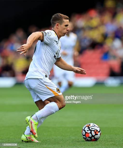 Daniel Podence of Wolverhampton Wanderers breaks with the ball during the Premier League match between Watford and Wolverhampton Wanderers at...
