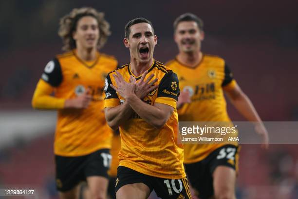 Daniel Podence of Wolverhampton Wanderers celebrates after scoring a goal to make it 1-2 during the Premier League match between Arsenal and...