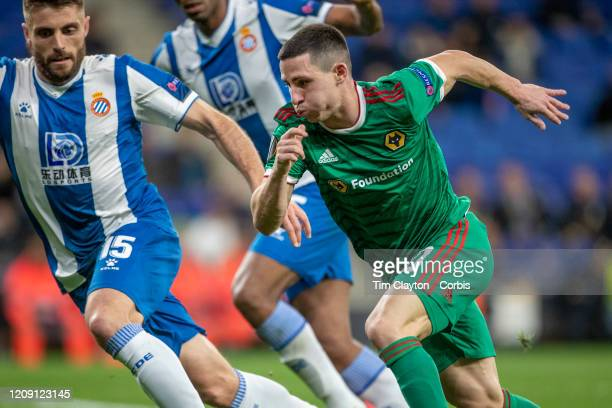 Daniel Podence of Wolverhampton Wanderers defended by David Lopez of Espanyol during the Espanyol V Wolverhampton Wanderers UEFA Europa League round...