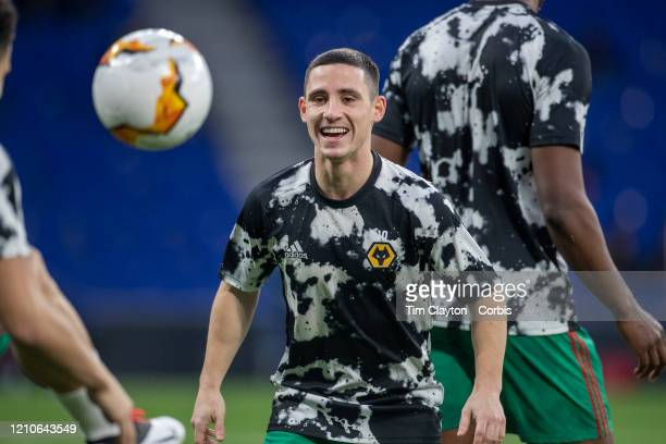 Daniel Podence of Wolverhampton Wanderers during team warm up before the Espanyol V Wolverhampton Wanderers UEFA Europa League round of 32 second leg...