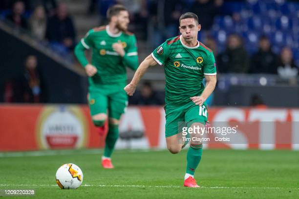 Daniel Podence of Wolverhampton Wanderers in action during the Espanyol V Wolverhampton Wanderers UEFA Europa League round of 32 second leg match at...