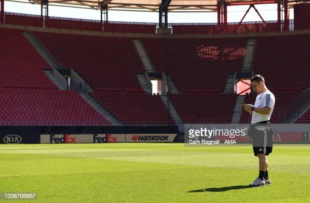 Daniel Podence of Wolverhampton Wanderers inside the Georgios Karaiskakis Stadium the home stadium of Olympiacos FC prior to the UEFA Europa League...