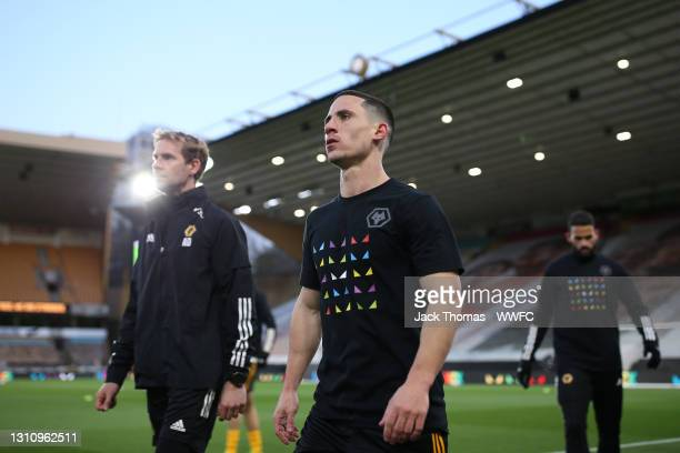 Daniel Podence of Wolverhampton Wanderers looks on during his warm up prior to the Premier League match between Wolverhampton Wanderers and West Ham...