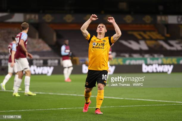 Daniel Podence of Wolverhampton Wanderers reacts after a missed chance during the Premier League match between Wolverhampton Wanderers and West Ham...
