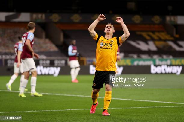 Daniel Podence of Wolverhampton Wanderers reacts after missing a chance during the Premier League match between Wolverhampton Wanderers and West Ham...