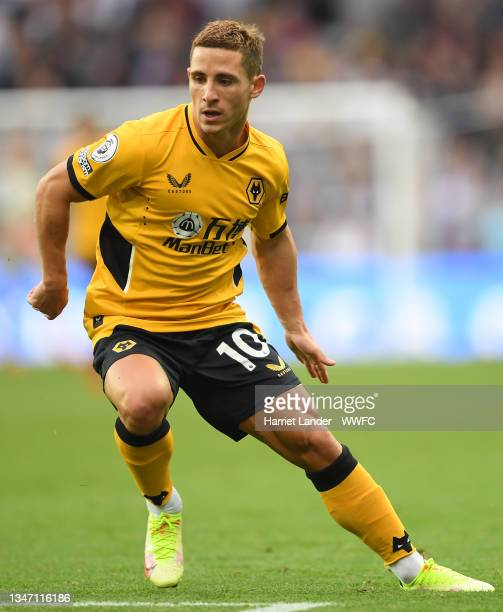 Daniel Podence of Wolverhampton Wanderers runs on during the Premier League match between Aston Villa and Wolverhampton Wanderers at Villa Park on...