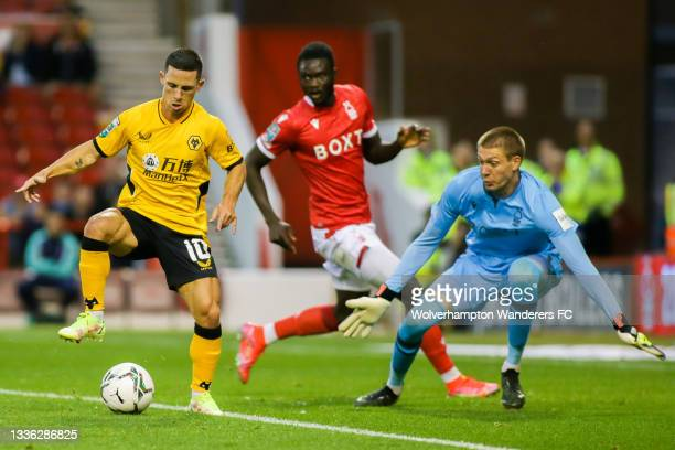Daniel Podence of Wolverhampton Wanderers shoots during the Carabao Cup Second Round match between Nottingham Forest and Wolverhampton Wanderers at...