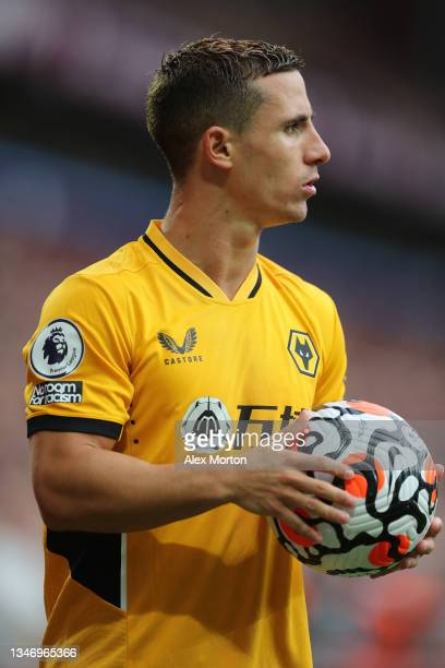 Daniel Podence of Wolves during the Premier League match between Aston Villa and Wolverhampton Wanderers at Villa Park on October 16, 2021 in...