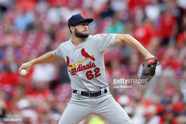 Daniel Poncedeleon of the St Louis Cardinals pitches in the second inning against the Cincinnati Reds during a game at Great American Ball Park on...