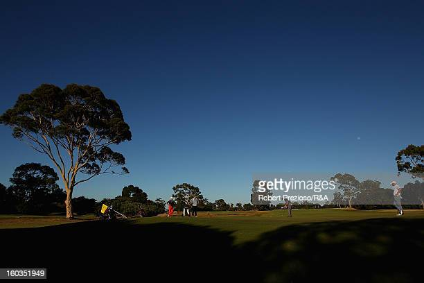 Daniel Popovic of Australia plays a shot on the 1st hole during day two of the British Open International Final Qualifying Australasia at Kingston...