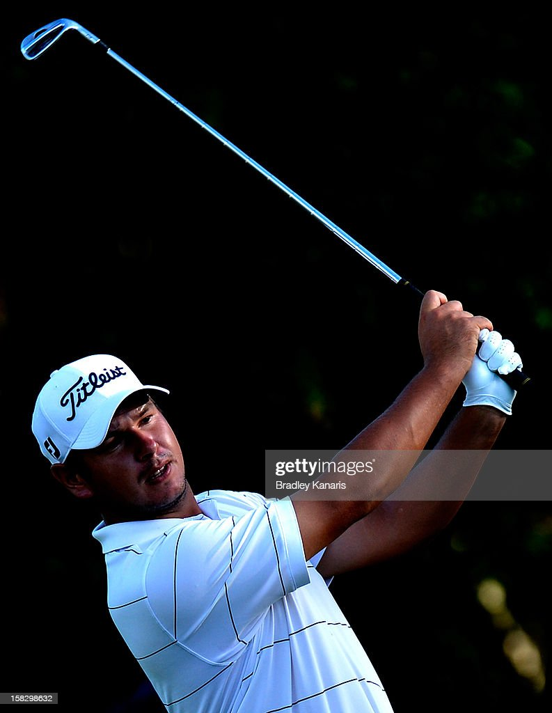 Daniel Popovic of Australia plays a shot on the 9th hole during round one of the Australian PGA at the Palmer Coolum Resort on December 13, 2012 in Sunshine Coast, Australia.