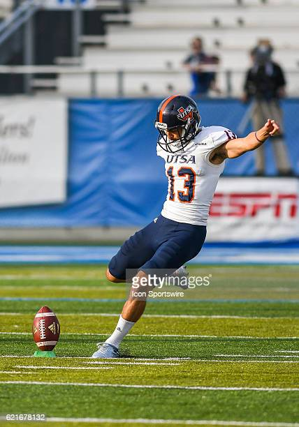 Daniel Portillo kicking off during the NCAA football game between the UTSA Roadrunners and the MTSU Blue Raiders on November 5 at Johnny Red Floyd...