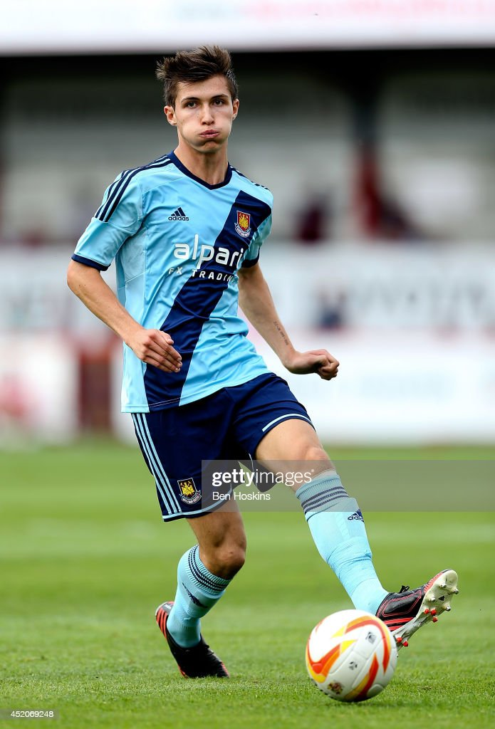 Daniel Potts of West Ham in action during the Pre Season Friendly match between Stevenage and West Ham United at The Lamex Stadium on July 12, 2014 in Stevenage, England.