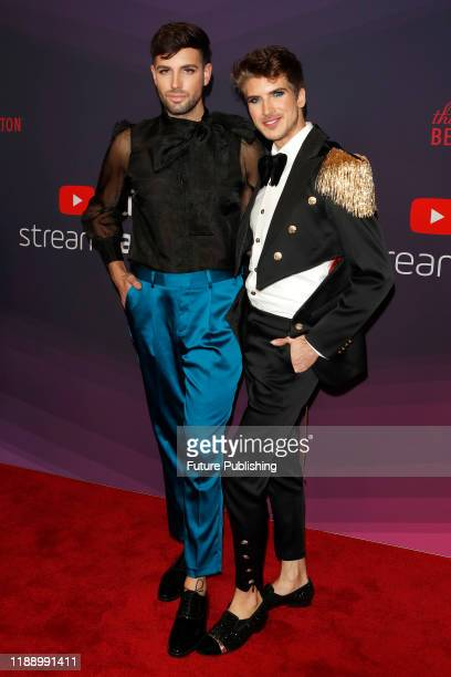 Daniel Preda Joey Graceffa photographed arriving at the 9th Annual Streamy Awards at the Beverly Hilton Hotel in Beverly Hills California on December...