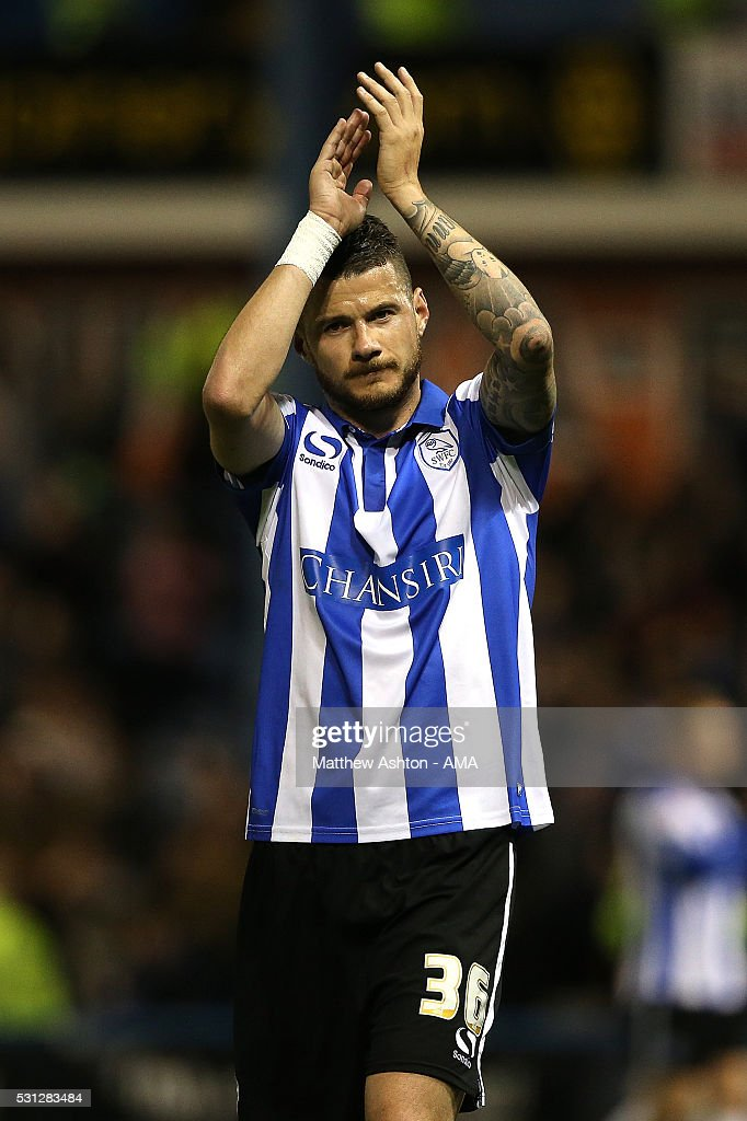 Daniel Pudil of Sheffield Wednesday acknowledges the fans at the end of the Sky Bet Championship Play Off First Leg match between Sheffield Wednesday and Brighton & Hove Albion at Hillsborough stadium on May 13, 2016 in Sheffield, England.