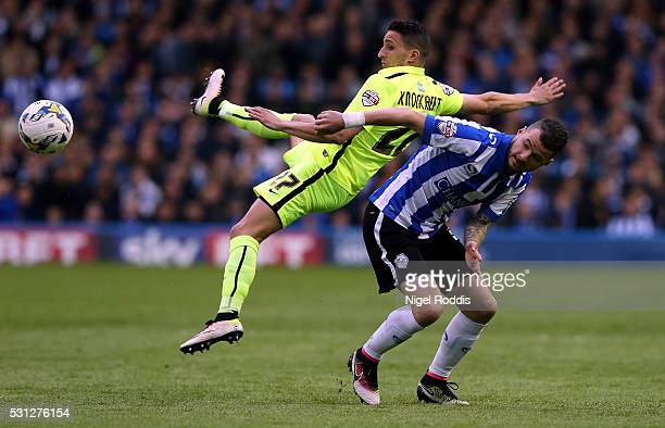Daniel Pudil of Sheffield Wednesday challenged by Anthony Knockaert of Brighton Hove Albion during the Sky Bet Championship Play Off First Leg...