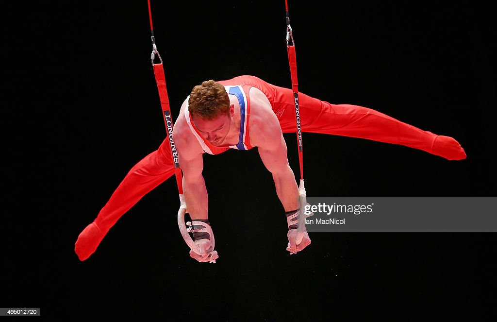 Daniel Purvis of Great Britiain competes on the Rings during day eight of World Artistic Gymnastics Championships at The SSE Hydro on October 30, 2015 in Glasgow, Scotland.