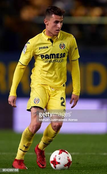 Daniel Raba of Villarreal runs with the ball during the Copa del Rey Round of 16 second Leg match between Villarreal CF and Leganes at Estadio de La...