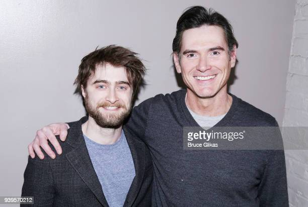 Daniel Radcliffe and Billy Crudup pose backstage at the hit play produced by Audible 'Harry Clarke' at The Minetta Lane Theatre on March 28 2018 in...